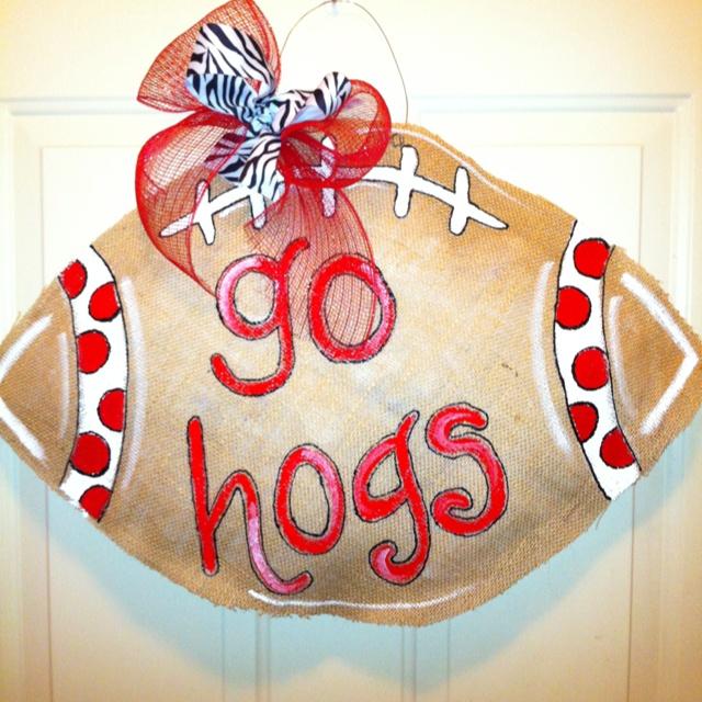 Burlap Hogs door sign