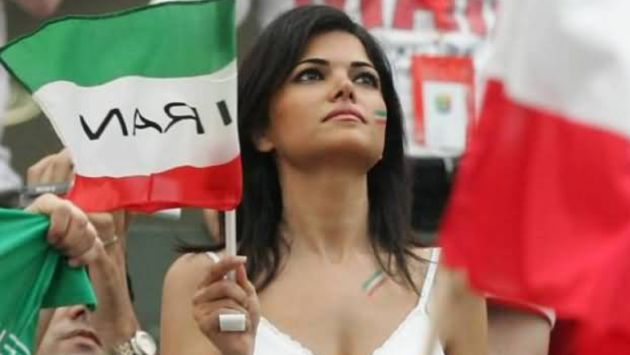 Stunningly beautiful Iranian woman. Glad she doesn't have to cover up under that nasty ninja costume