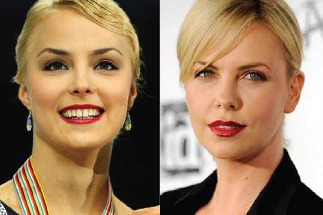 Kiira Korpi—Charlize Theron-----------------Therons on ice!  Despite how it may look, Finnish figure skater Kiira Korpi is not the younger sibling of film actress Charlize Theron.   That said, if Arrested Development comes back for a fifth season and Theron is busy, just chuck Korpi in as Rita. Boom. Done.
