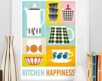 Kitchen print Mid Centruy modern Stig Lindberg poster by handz