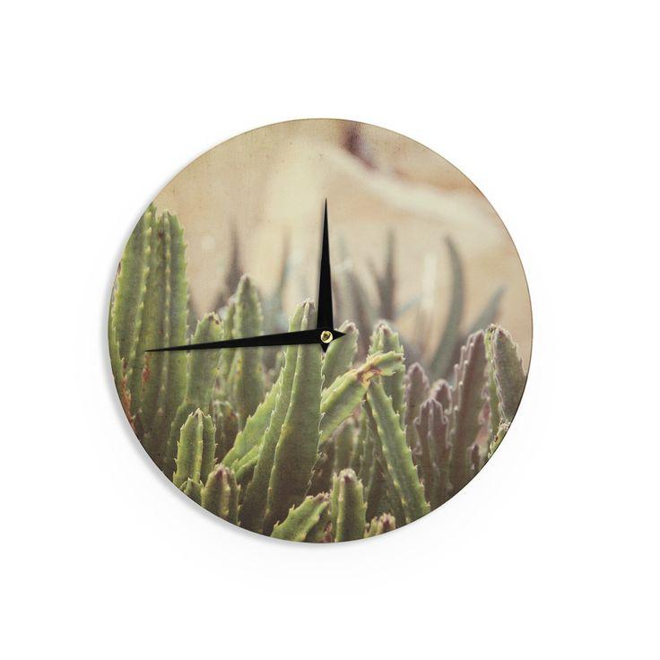 """Jillian Audrey """"Green Grass Cactus"""" Green Brown Wall Clock"""