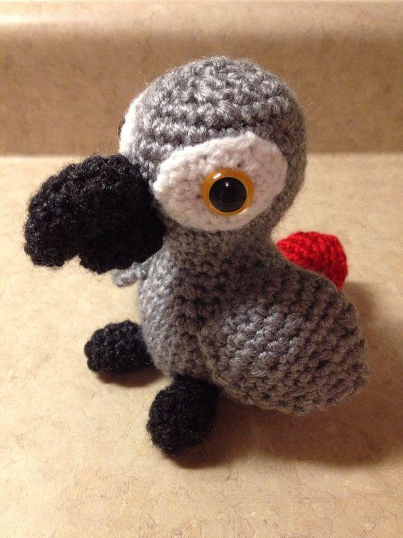 Amigurumi Parrot Pattern : African Grey Parrot - Amigurumi Crochet PATTERN ONLY (PDF)