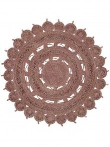 Flachgewebe Teppich Samsara rund Lila