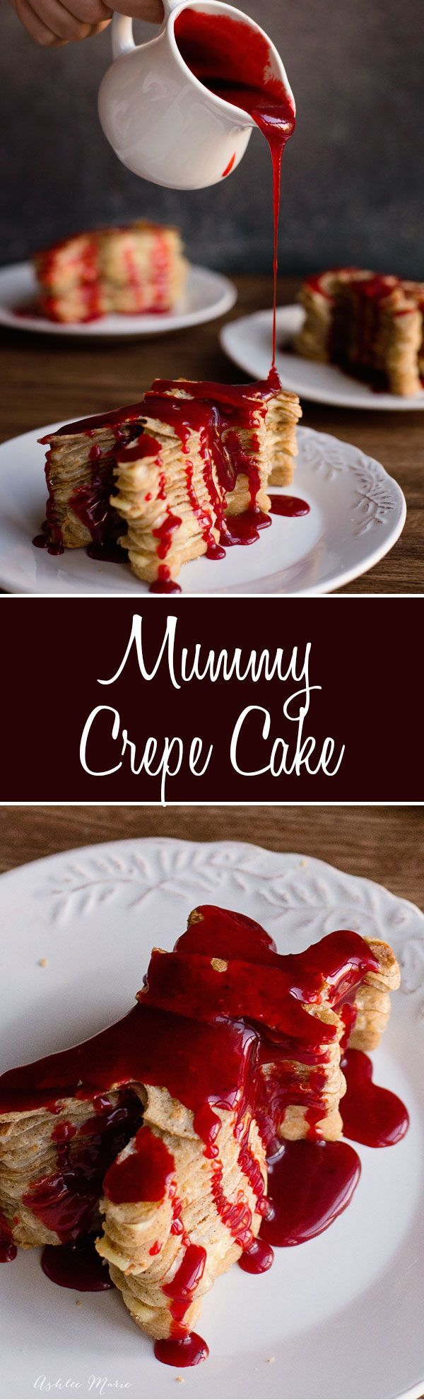 Bloody Mummy Crepe Cakes recipe and Video Tutorial, Layers of cinnamon crepes filled with pastry cream and a shortbread crumble and topped with some blood red buttermilk syrup. #halloween