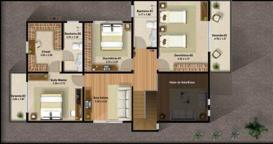 Plano de casa de dos pisos con  tres dormitorios 03
