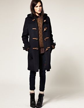 Gloverall Fit and Flare Wool Duffle Coat with Hood