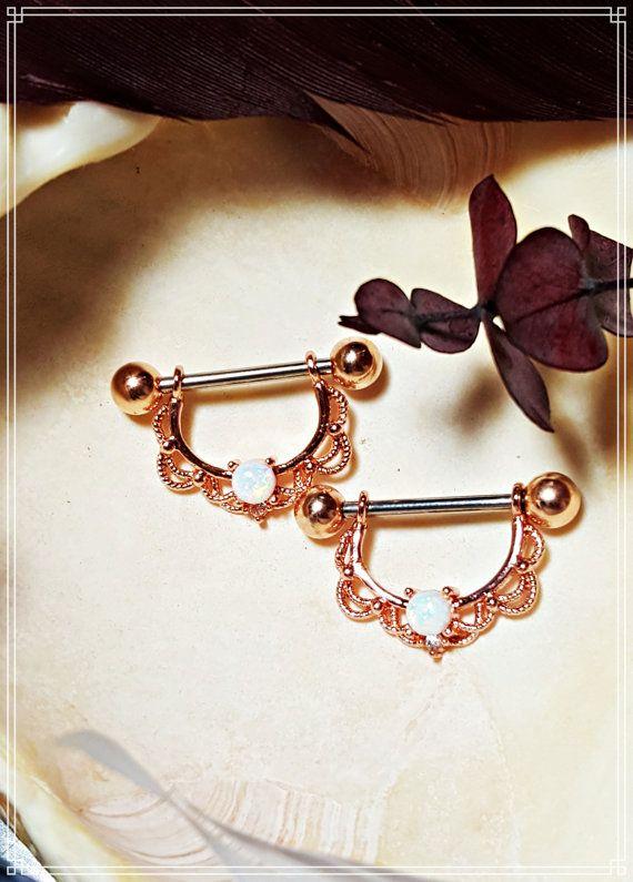 Rose Gold Opal Ornate Victorian Swarovski Crystal by ABodyJewelry