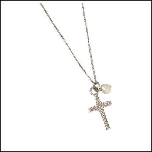 Sött halsband med ett kors och en sötvattenpärla från Pearls for Girls