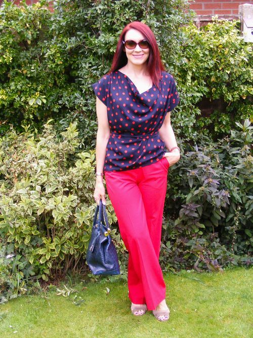 Red Oasis trousers, polka dot top