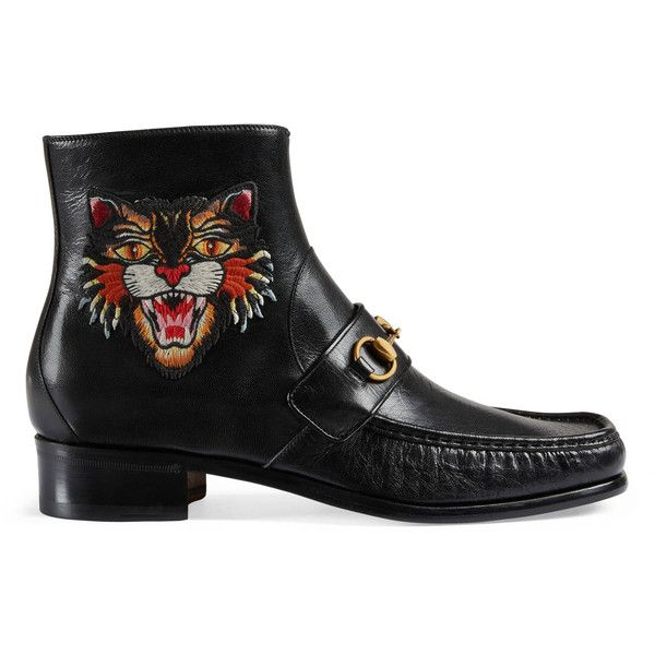 Gucci Horsebit Leather Boot With Appliqués ($950) ❤ liked on Polyvore featuring men's fashion, men's shoes, men's boots, black, mens leather boots, mens side zip boots, mens leather shoes, mens black shoes and gucci mens shoes