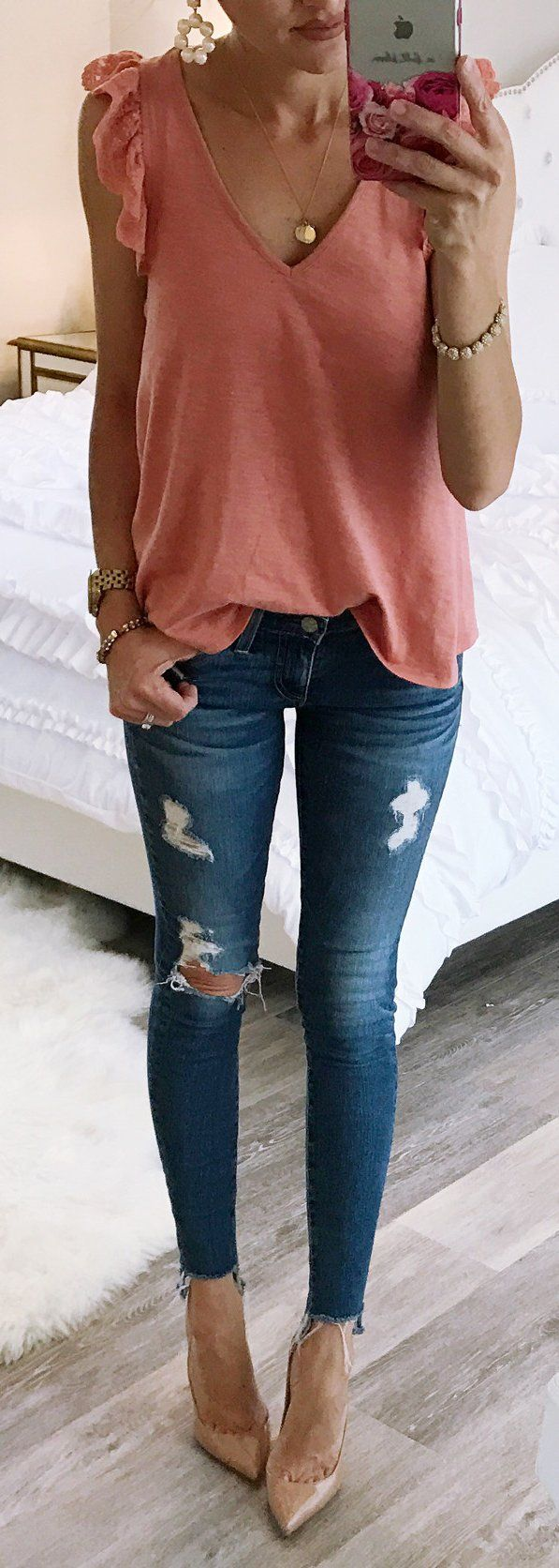 #summer #outfits  Pink Ruffle Tank + Ripped Skinny Jeans + Nude Pumps