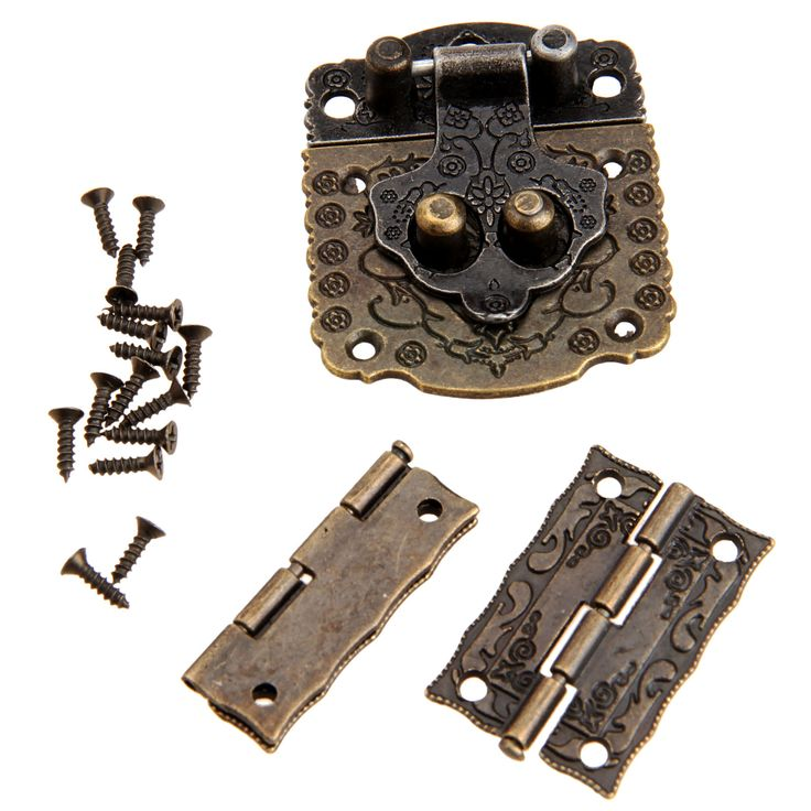 2Pcs Chinese Brass Hardware Vintage Bronze Wooden Box Cabinet Toggle Latch Hasp+Antique Bronze Box Hinges Furniture Accessories