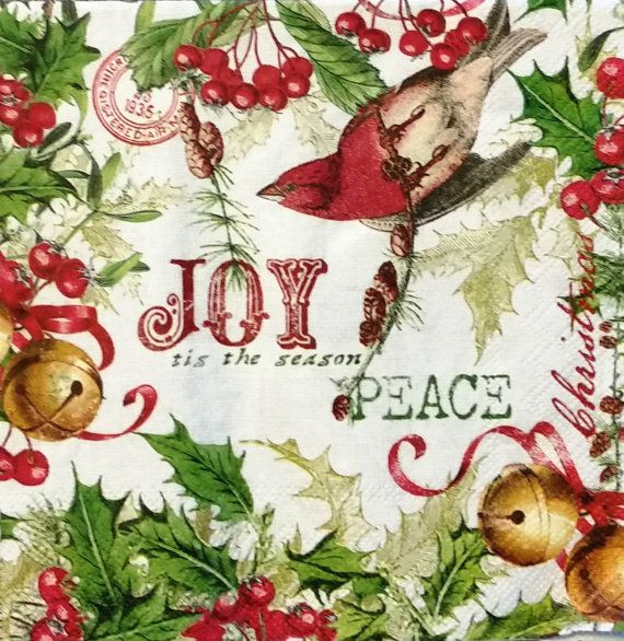 three joyous christmas luncheon napkins for by