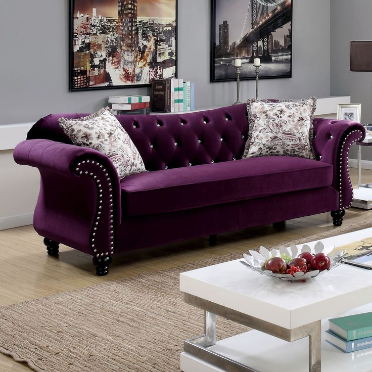 Purple tufted sofa modern purple velvet tufted sofa with 2 for Purple sofa