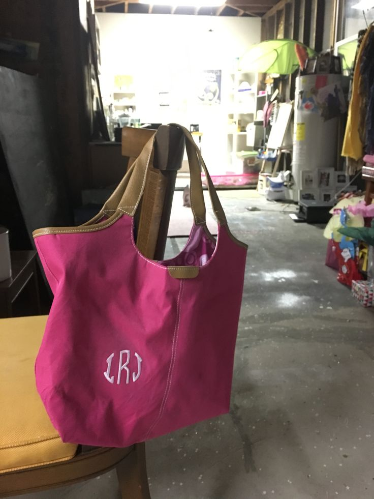 School tote bag monogram-  New promo Lancôme tote, Hobby Lobby iron-on circle monogram letters.  Total cost $7, fun cute schoolbag for preschooler, that you just KNOW will get trashed in a few months anyways!
