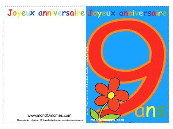 Carte D Anniversaire Pour Garcon Gratuite Inspirational Carte Anniversaire Fille 9 Ans Gratuite Imprimer