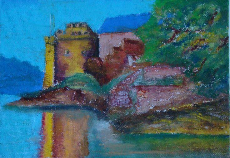 Dartmouth Castle in oil pastels