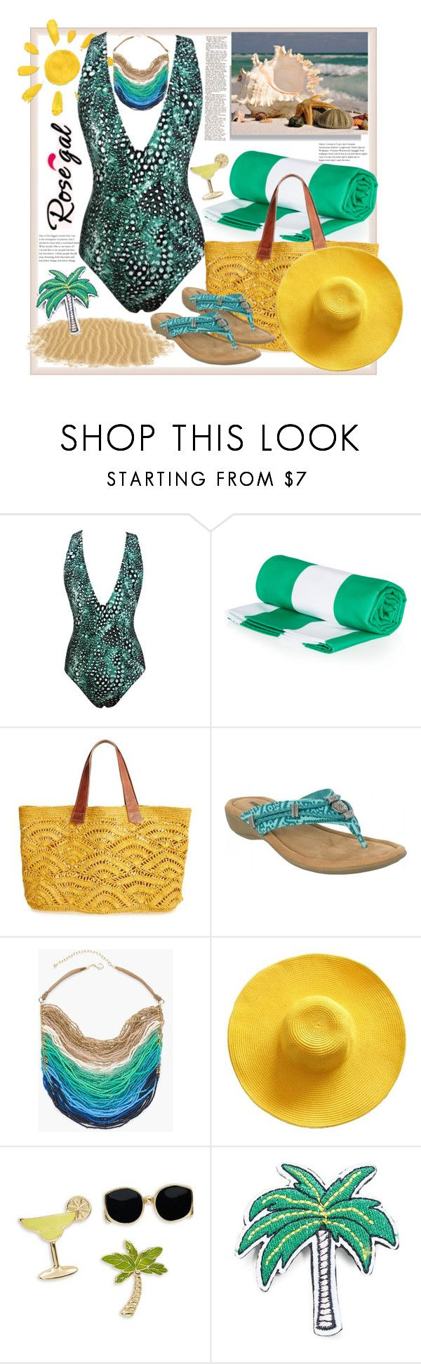 """Rosegal.Racerback Plunge One-Piece Swimwear - Green"" by natalyapril1976 on Polyvore featuring Mode, Mar y Sol, Minnetonka, Chico's, Design Lab und R.J. Graziano"