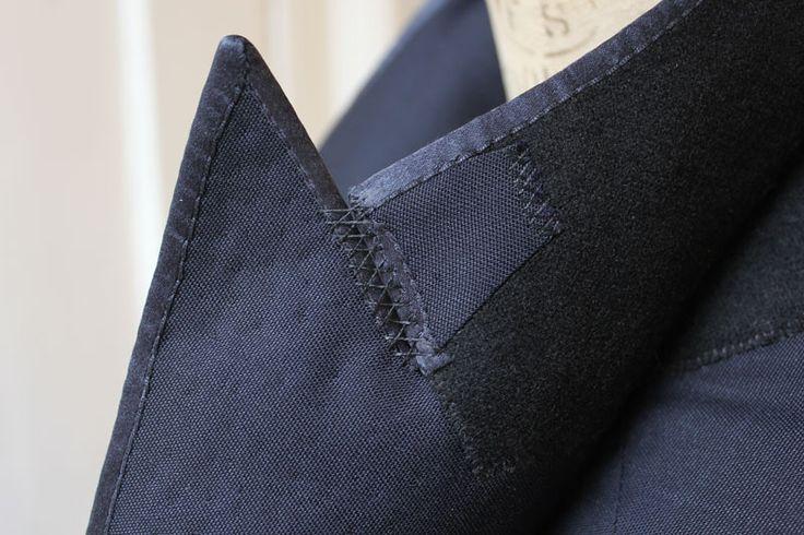 Tuxedo jacket finishings criss cross stitching