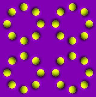 Als je op deze afbeelding van de ene naar de andere cirkel kijkt, dan zie een illusie of vorm van gezichtsbedrog...