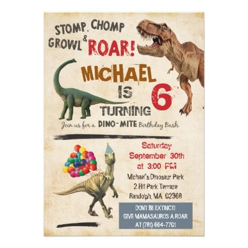 394 best dinosaur birthday party invitations images on pinterest, Birthday invitations