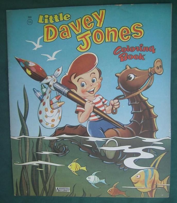Vintage 1955 Little Davey Jones Coloring Book Saalfield Publishing