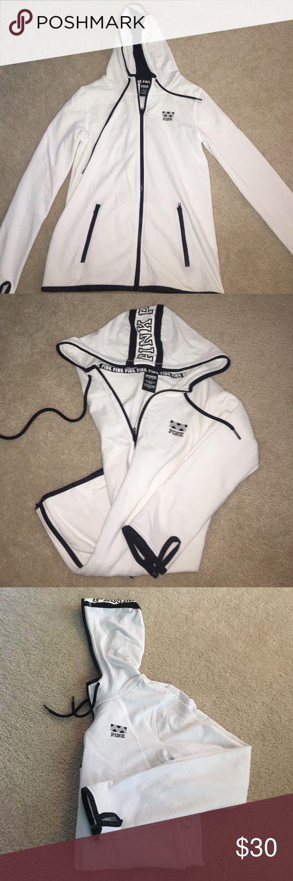 PiNK Victoria Secret White Zip up Hoodie SMALL Practically brand new!! NEVER BEEN WORN!!   Super soft!! Black and white Design PINK Victoria's Secret Tops Sweatshirts & Hoodies
