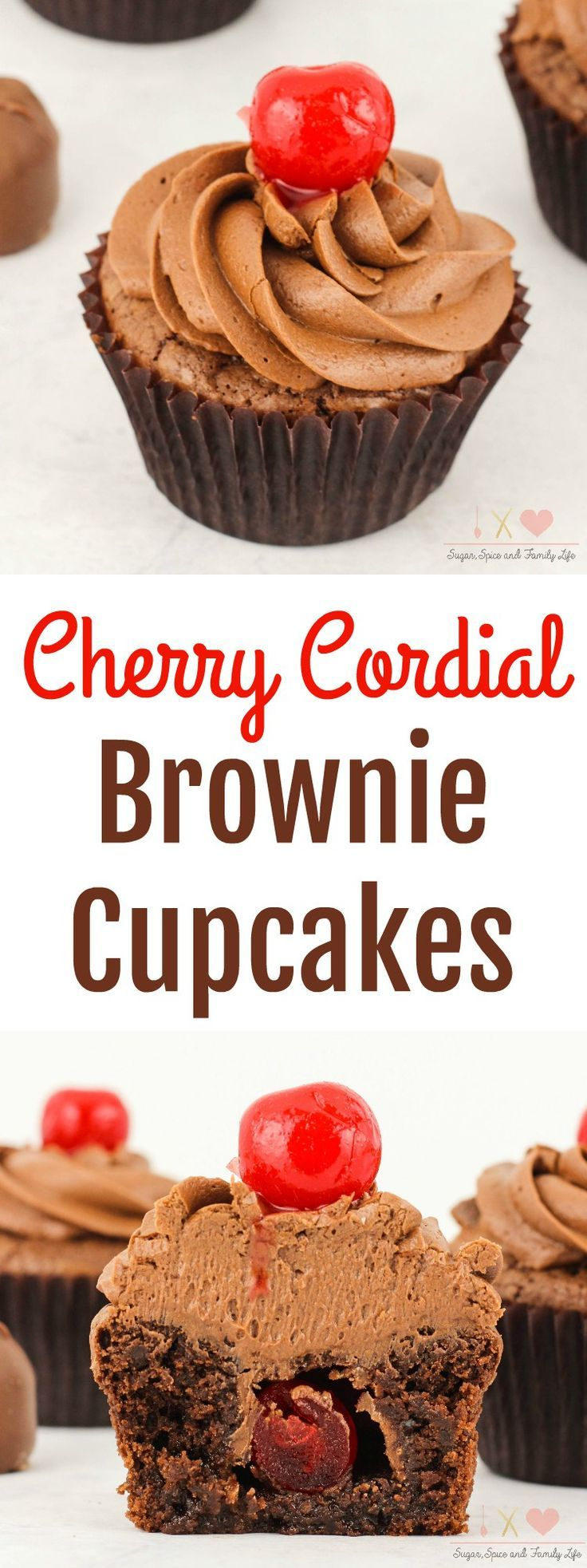 Cherry Cordial Brownie Cupcakes are a delicious chocolate cherry dessert. Each chocolate brownie cupcake is stuffed with a cherry cordial. Then covered with chocolate frosting and a maraschino cherry on top. Anyone who enjoys chocolate covered cherries will love this cherry brownie dessert. -  Cherry Cordial Brownie Cupcakes Recipe from Sugar, Spice and Family Life