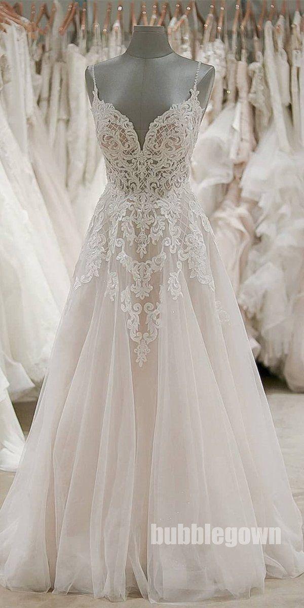 A Line Formal Spaghetti Strap Tulle Lace Cheap Long Wedding Dresses, BGP276 – Ka…