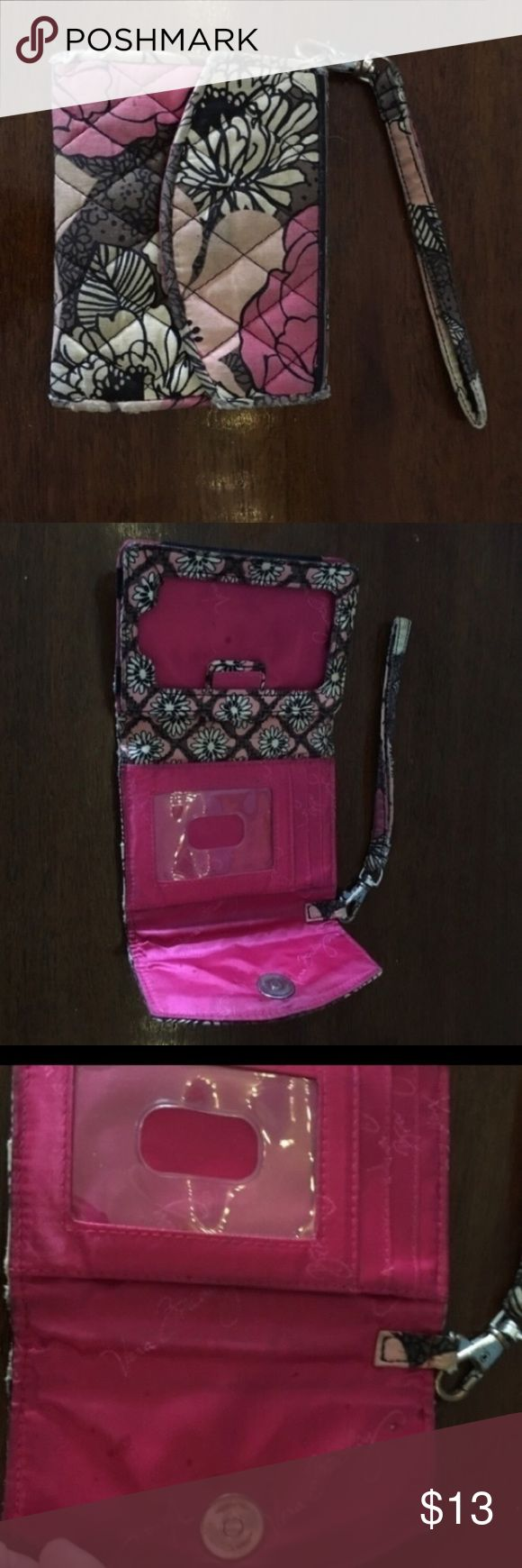 Pink Floral Mocha Rouge Vera Bradley Wristlet Cute wristlet that fits an iPhone 4 or 4s. It can also fit an iPhone 5, 5s, 5c, or 6SE without a case. There are signs of wear as shown in pictures but still has a lot of life left in it! Vera Bradley Accessories Phone Cases