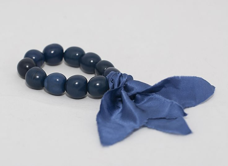 PLAYA Bracelet - Blue Chicon Nuts with Blue Silk