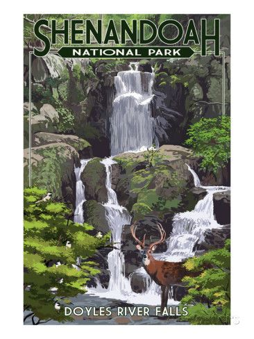 Shenandoah National Park, Virginia - Doyles River Falls Prints by Lantern Press at AllPosters.com
