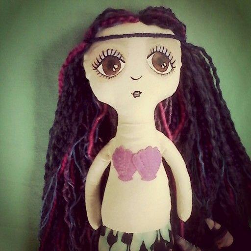 Boho mermaid. Fabric doll. Art doll. Handmade by Roxanne Rose design