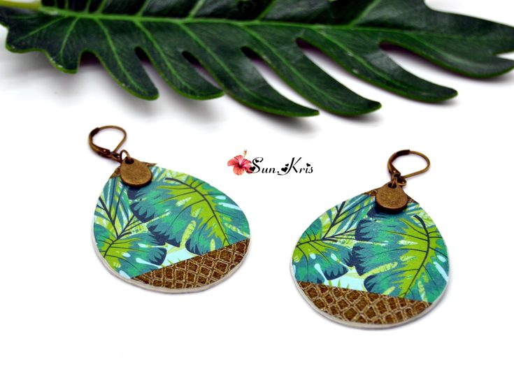 Boucles d'oreilles géométrique gouttes, tropical jungle, feuille monstera écaille de serpent vert émeraude, bronze bijoux papier ethnique