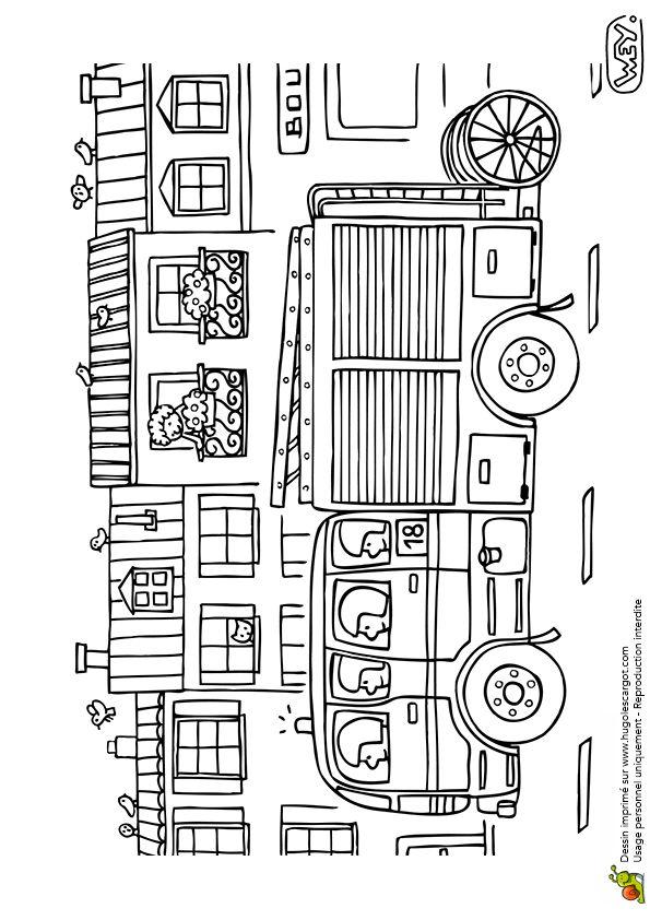Les 86 meilleures images du tableau coloriages de camions - Dessin caserne pompier ...