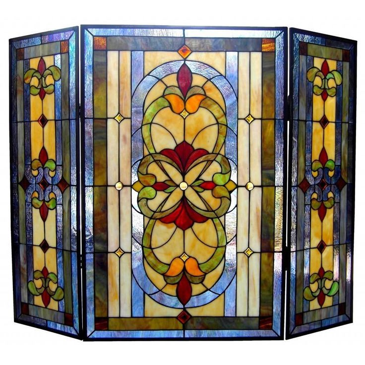 Fill your home with Victorian elegance with this captivating fireplace screen. Crafted with lovely art glass, this beautiful screen is decorated in shades of blue, beige and green.