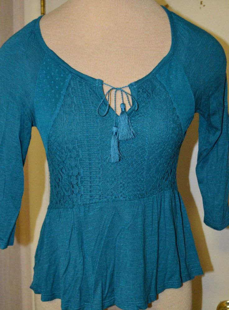 Rue 21 Teal Blue Green 3/4 Sleeve Crochet Lace Ltwt. Blouse Top Juniors S, M, L #rue21 #Blouse