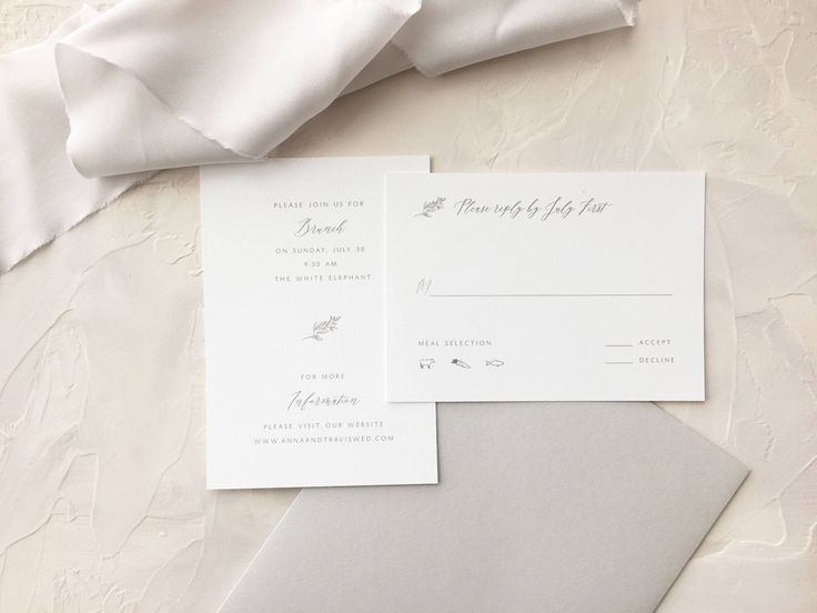 Anna features a custom hand drawn graphic and classic text. Shown in the color fog with soho grey envelopes. Printed on 100% tree-free cotton, which has a subtle texture and gives a luxurious feel to your stationery. Coordinating save the dates, thank you cards, menus, programs,