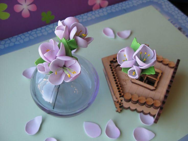Цветы яблони мастер класс из фоамирана. Как сделать шпильку.