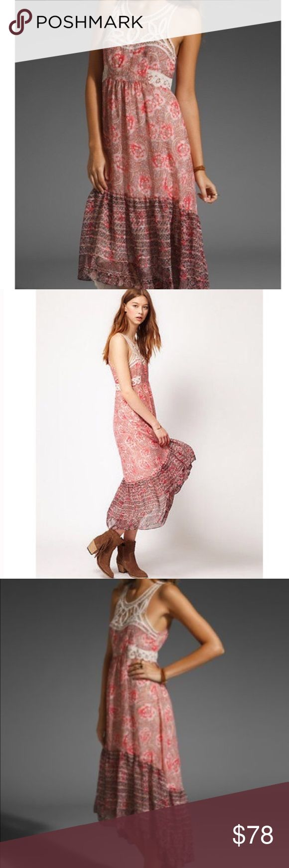 • FREE PEOPLE • native rose maxi dress Gently worn Free People native rose maxi dress. Size 0. Only worn a few times! Absolutely gorgeous! Flowy, feminine & great for summer! Zipper back. Asymmetrical hem. Lace detail at neckline & waist. Remember to bundle & save 15%! 💕 Offers welcome! Free People Dresses Maxi