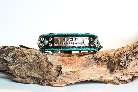 Turquoise Dog Collar - Custom Dog Collar - Leather Dog Collar !!!READ BEFORE ORDERING!!!: Please measure in inches. Please measure your dogs neck snugly and use a fabric measuring tape. If you can slide a finger in between the measuring tape and your dogs neck, it is too loose. If you are pinching their neck or folding skin it is too tight. When measuring a dog with long hair, leave the hair as it would lay when he/she would be wearing a collar. If you like your dogs collar to be VERY l...