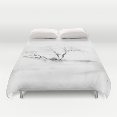 Scots Pine, Gray Duvet Cover by Gréta Thórsdóttir - $99.00  #gotland #BalticSea #waterfront #black #white #tree #mist #bedroom