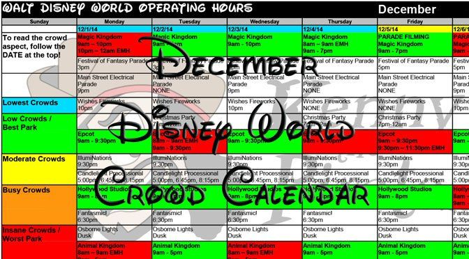 December 2017 Disney World Crowd Calendar Park Hours with Fastpass and Dining Booking Dates KennythePirate