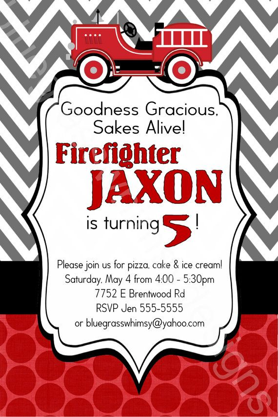 190 best images about Coles 4th Birthday – Fire Truck Party Invitations