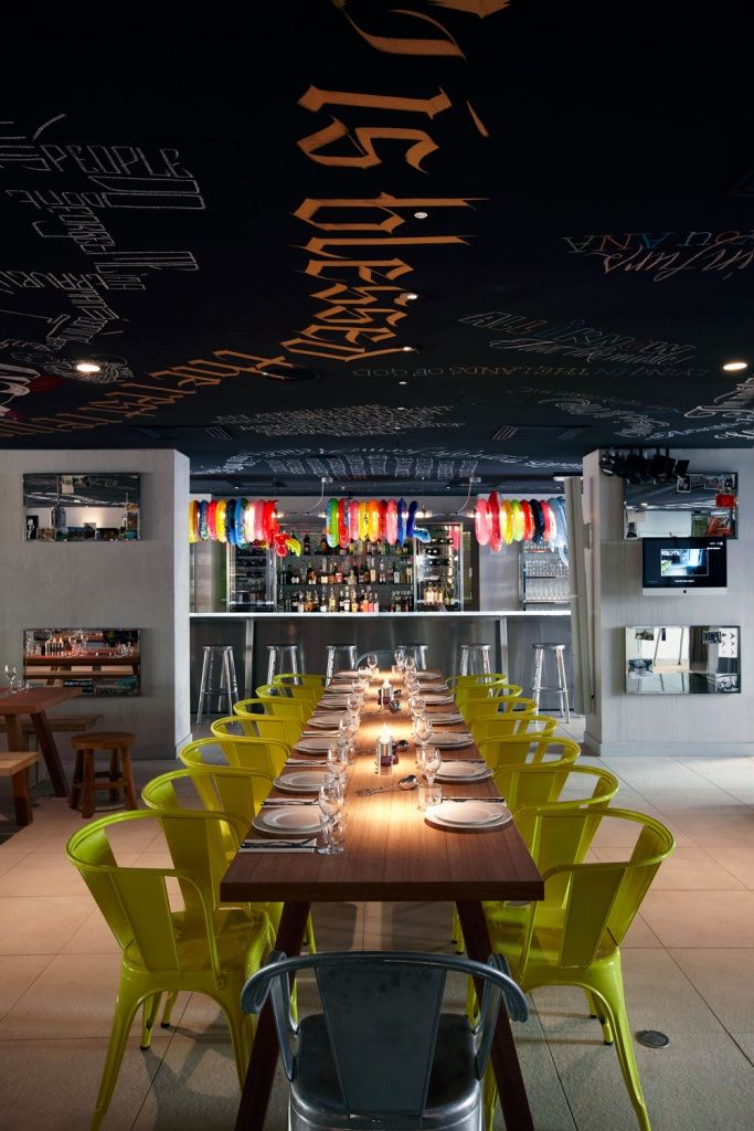Restaurant at L'hotel Mama Shelter, Marseilles, by Philippe Starck.