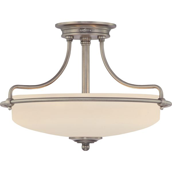 Griffin Antique Nickel Finish Large Semi Flush Mount