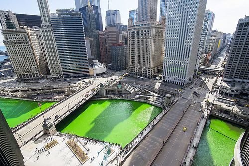 """Chicago Green River"" photo from Jeff Lewis. For St. Patrick's Day, Chicago's main waterway turns bright green from the annual dye-adding tradition on March 15, 2014, which precedes the city's holiday parade. by Flickr, via Flickr"