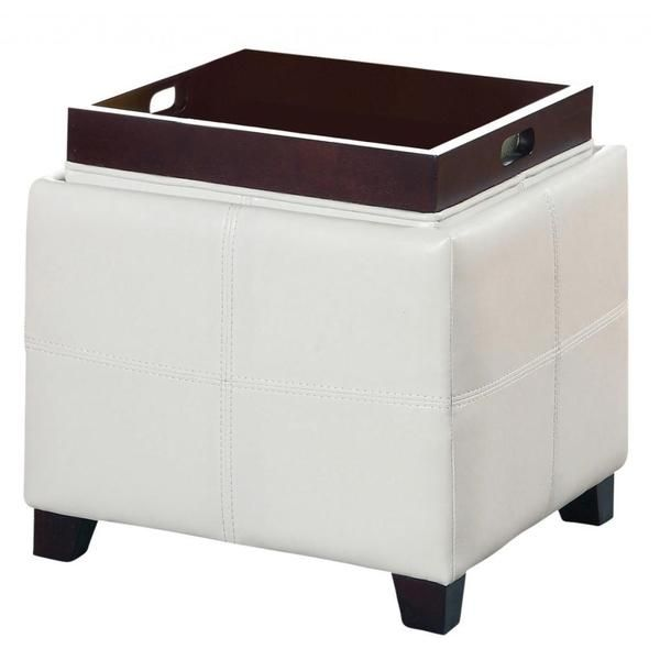 Worldwide Anton Ii Storage Ottoman With Reversible Tray White Size Medium Faux Leather Ottomans Trays And
