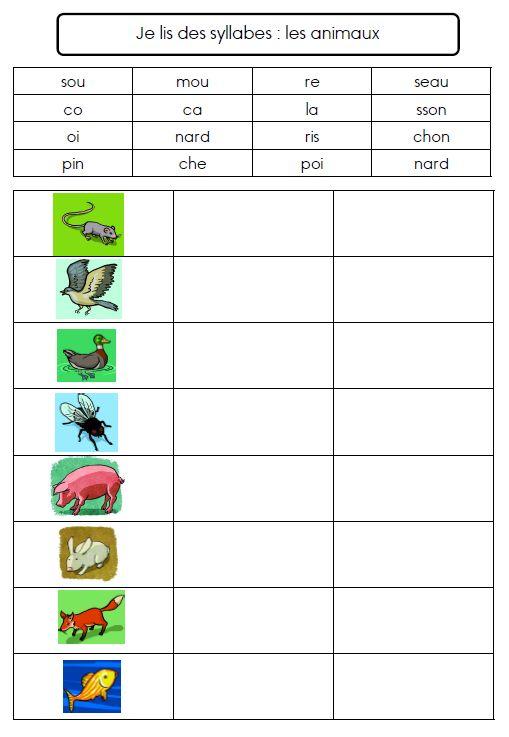 loto des syllabes : les animaux