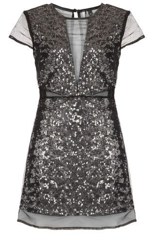 Sequin Organza Shift Dress